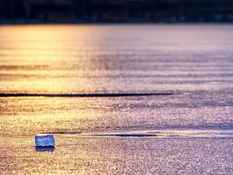 Natural winter icy background of defocused ice with copy space. Blue purple colors. Of ie floes stock photos