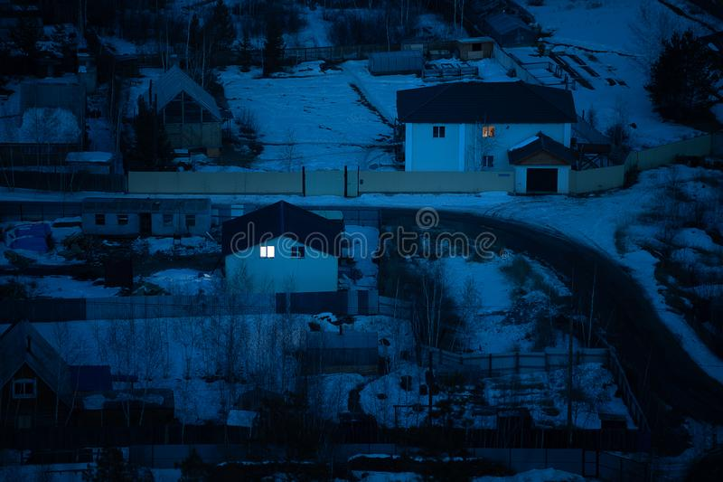 Natural winter night view in Yakutsk. Aerial view of houses with road, natural winter night view in Yakutsk, Yakutia stock images