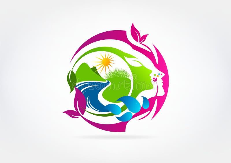 Natural woman beauty logo design vector illustration