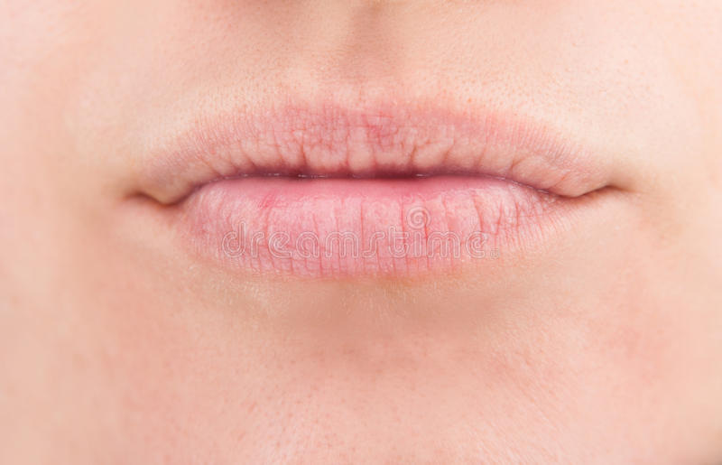 Natural woman lips stock images