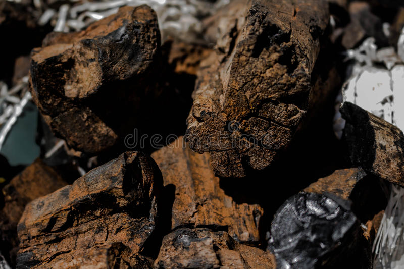 Natural wood charcoal traditional hard wood charcoal royalty free stock images