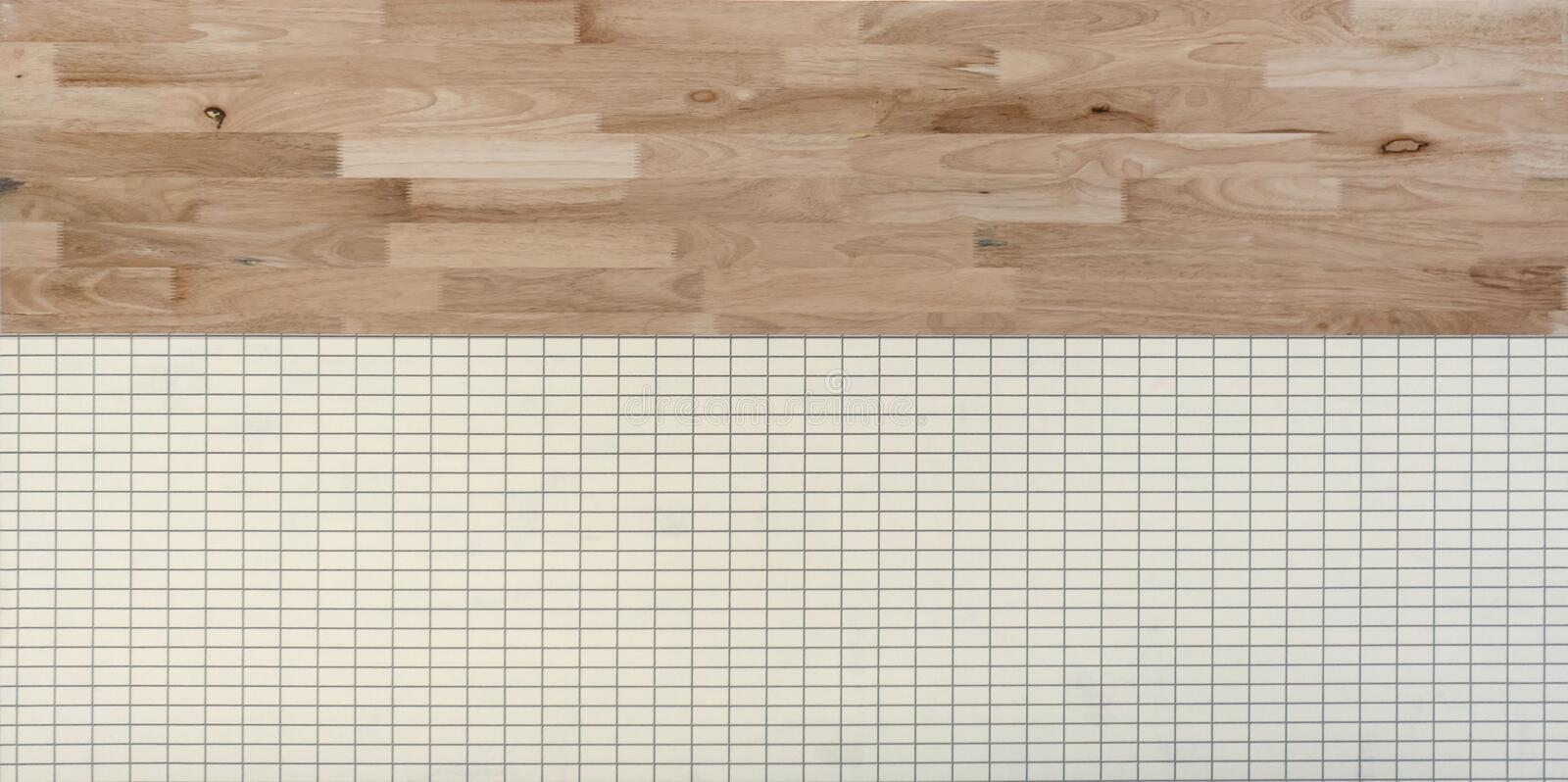 Natural wood wall and white tiles. Flooring pattern surface texture. Close-up of interior material for design decoration royalty free stock photo