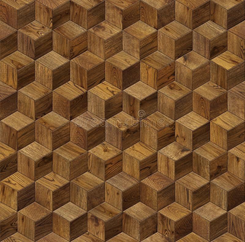 Natural wooden background cube 3d royalty free stock photography