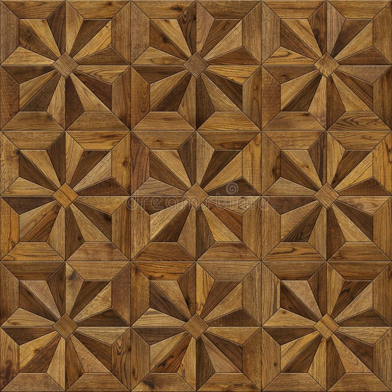 Natural wooden background eight-pointed star, grunge parquet flooring design seamless texture for 3d interior royalty free stock photography
