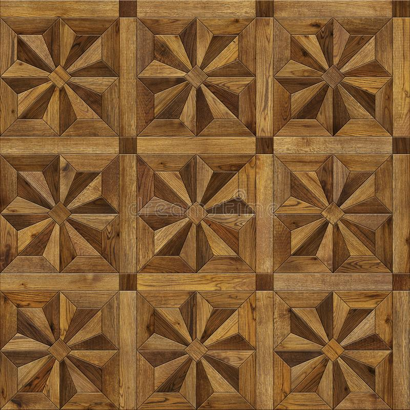 Natural wooden background eight-pointed star, grunge parquet flooring design seamless texture for 3d interior royalty free stock photos