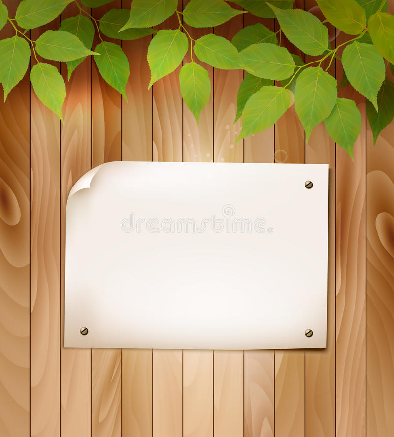 Natural wooden background with leaves and a blank piece of paper. Vector royalty free illustration