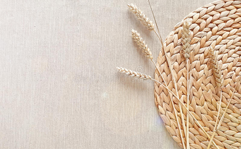 Natural woven straw background stock photography