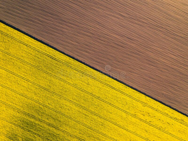 Natural yellow and brown flat background. Drone perspective stock image