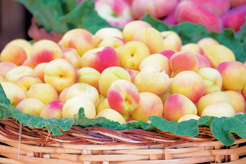 Natural yellow and red peaches in a wicker basket. Empty copy space. For Editor`s text royalty free stock photography