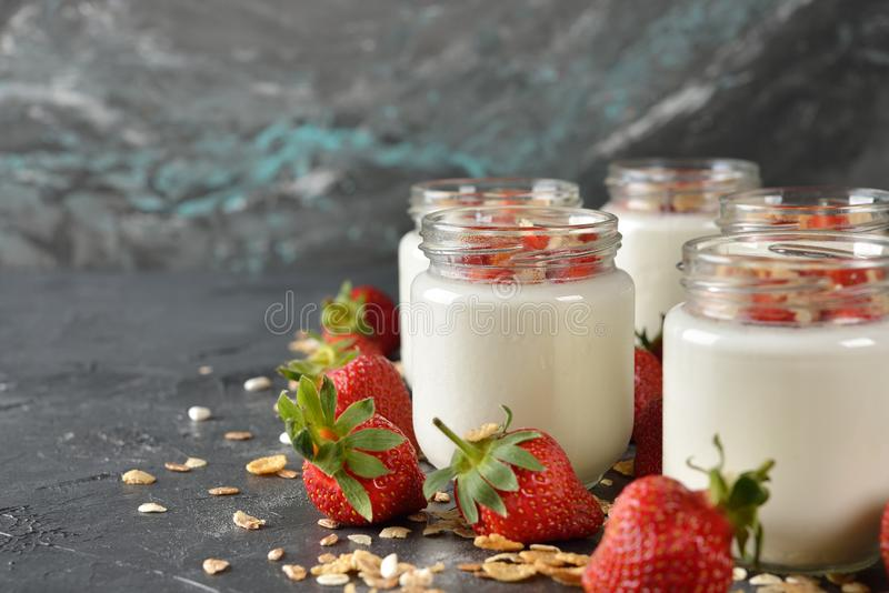 Natural yogurt close up royalty free stock photo