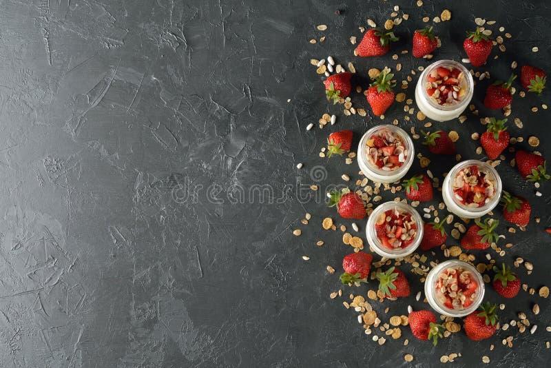 Natural yogurt close up stock images