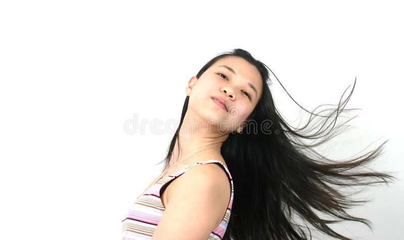 Natural young asian girl 13. Series of a natural-looking asian woman with white background royalty free stock image