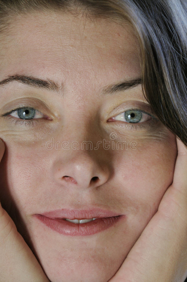 Natural Young Woman In Closeup Stock Photography
