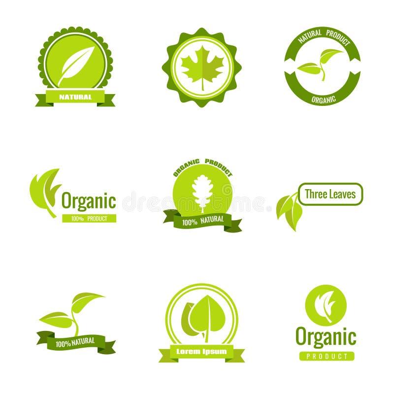 Naturale, eco e prodotti biologici vector il logos con le foglie royalty illustrazione gratis
