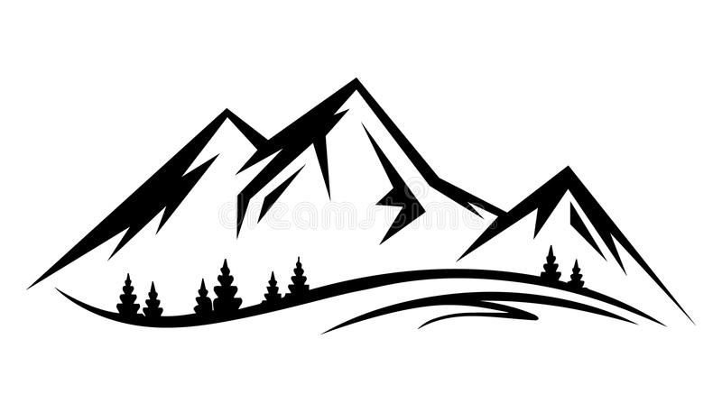 Naturaleza abstracta del paisaje del vector o silueta al aire libre del Mountain View stock de ilustración