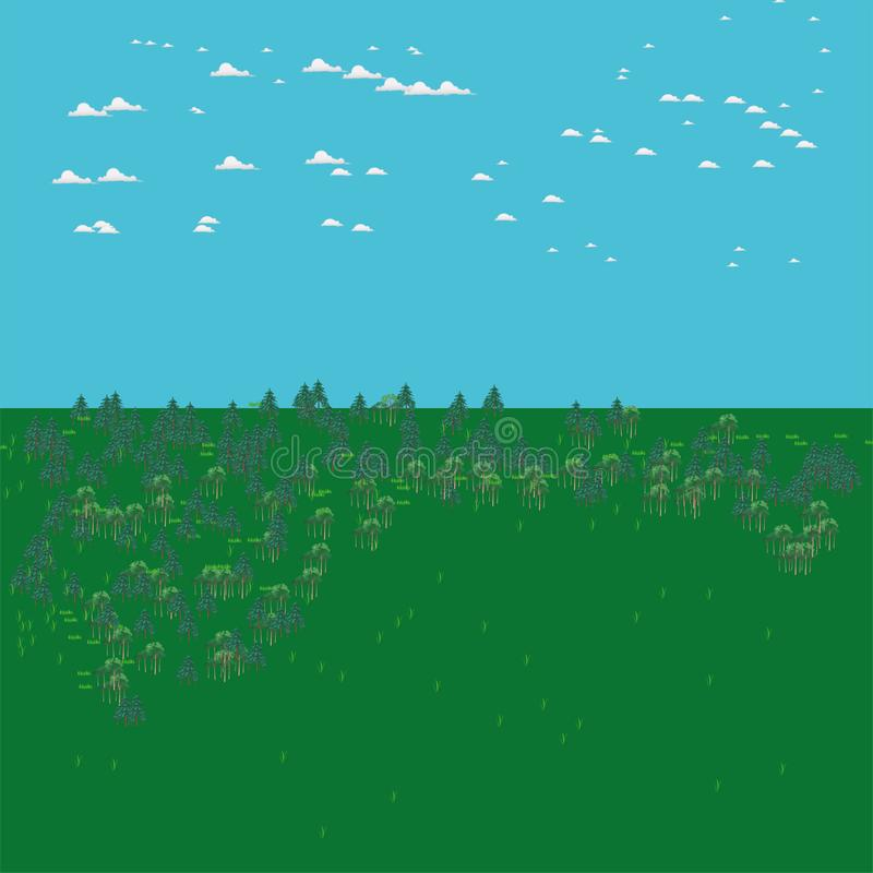 Naturaleza, bosque, campo, árboles, nubes blancas, árboles de navidad, pinos, aire fresco, fondo, cielo azul, hierba verde stock de ilustración
