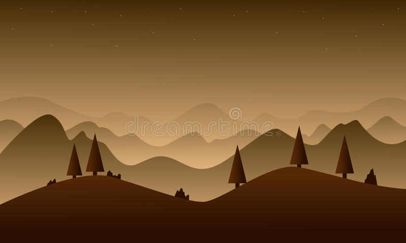 Naturaleza de la colina de Brown para el fondo del juego ilustración del vector