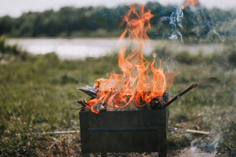Naturaleza de la leña del humo del fuego de la barbacoa cerca del río imagen de archivo