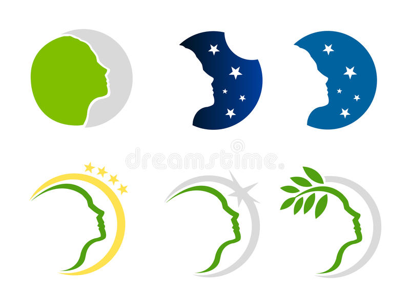 Naturaleza de la mujer e insignia de las estrellas stock de ilustración