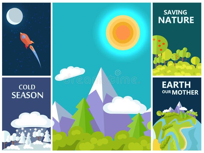 Naturaleza del ahorro, madre tierra y sistema frío de la estación libre illustration