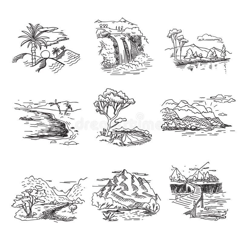 Naturaleza dibujada mano del bosquejo del garabato del borrador ilustración del vector