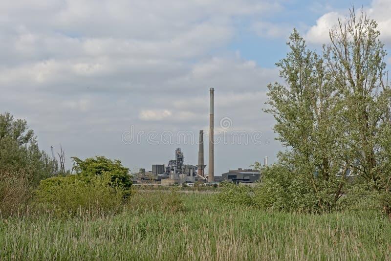 Naturaleza e industria - edificios industriales en el puerto de Amberes sean de la frontera verde en el otro lado del río Escalda imagenes de archivo