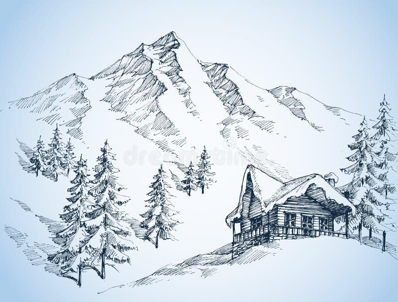 Naturaleza en el bosquejo de las montañas stock de ilustración