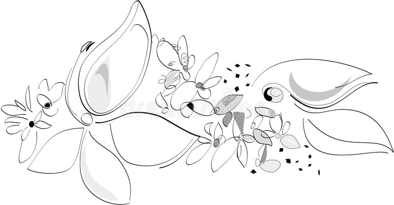 Naturaleza en el resorte - flores. Blanco y negro. Ilustración artística del vector stock de ilustración