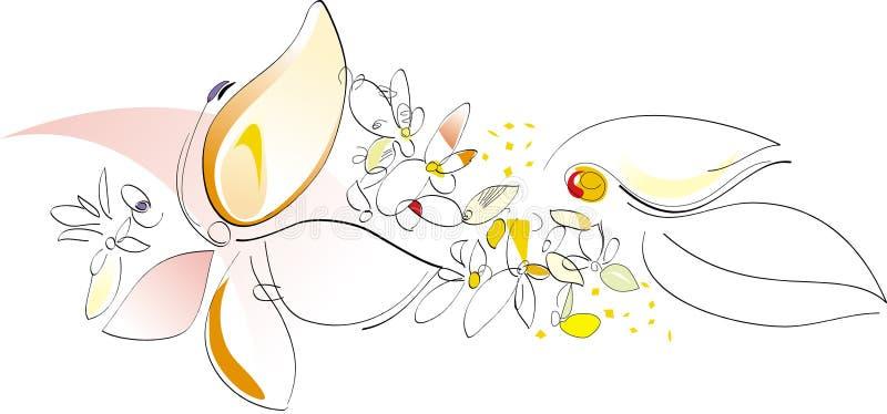 Naturaleza en el resorte - flores. Ilustración artística del vector stock de ilustración