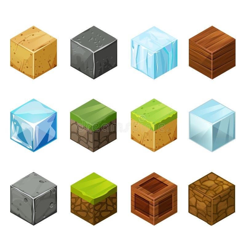 Naturaleza grande de los elementos del sistema de los cubos isométricos libre illustration