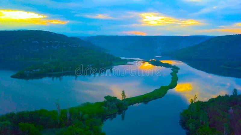 Naturaleza hermosa de la isla de Mljet en la opinión del ojo de pájaro de Croacia de Croacia, Europa imágenes de archivo libres de regalías