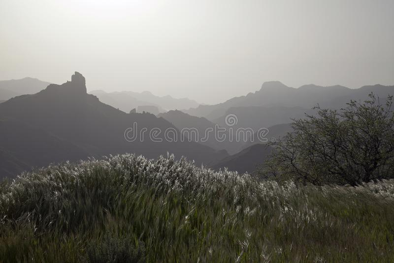 Naturaleza imponente en las montañas Cruz de Tejeda en Gran Canaria, Canarias debajo de la bandera española fotos de archivo