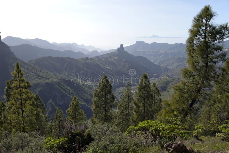 Naturaleza imponente en las montañas Cruz de Tejeda en Gran Canaria, Canarias debajo de la bandera española fotografía de archivo