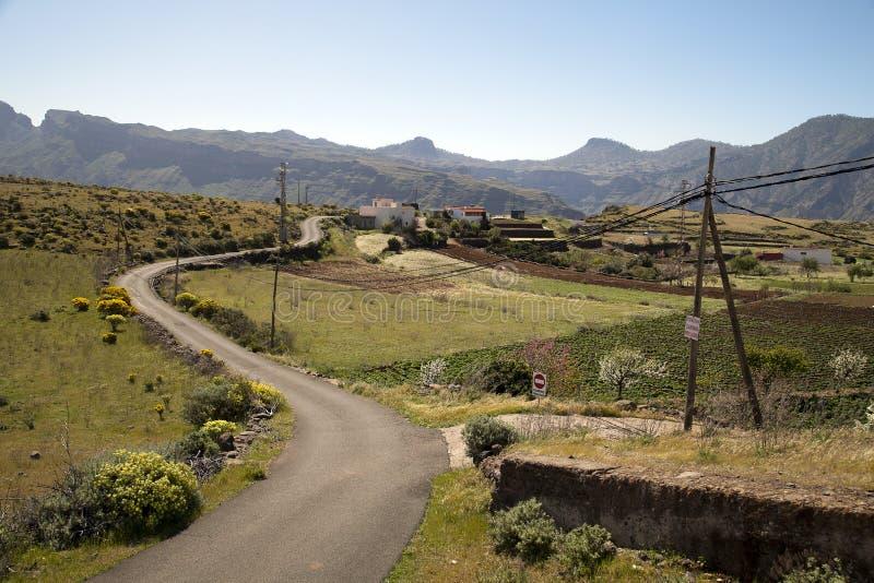 Naturaleza imponente en las montañas de Gran Canaria, Canarias debajo de la bandera española fotografía de archivo