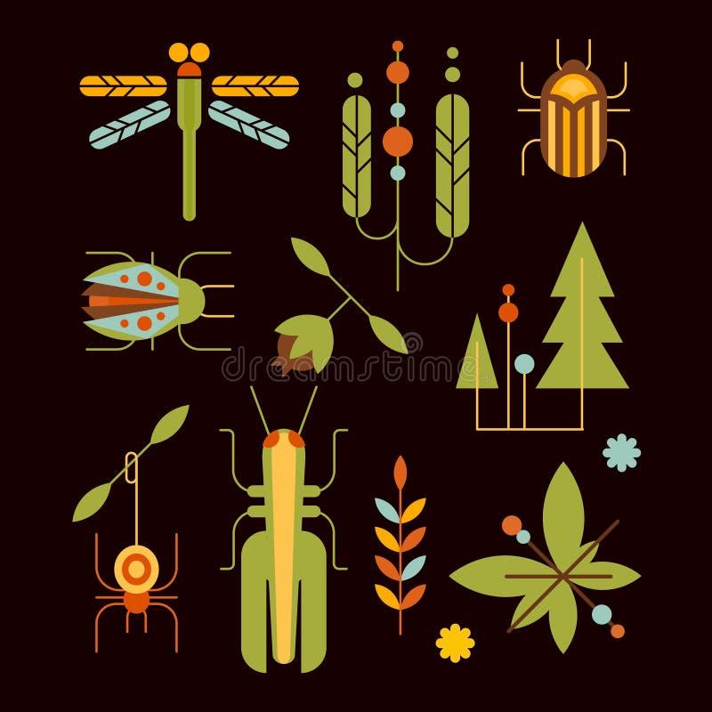 Naturaleza, insectos, hojas y vector de los iconos del árbol libre illustration