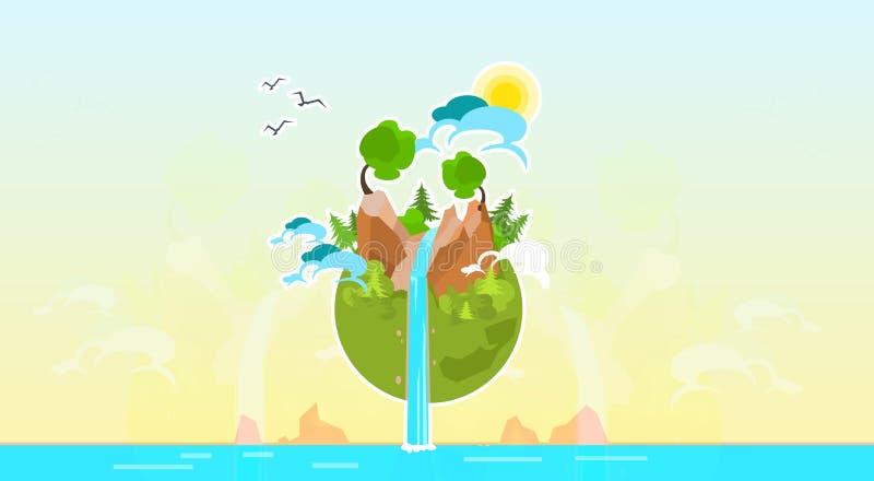 Naturaleza limpia de la montaña del árbol del globo de la tierra stock de ilustración