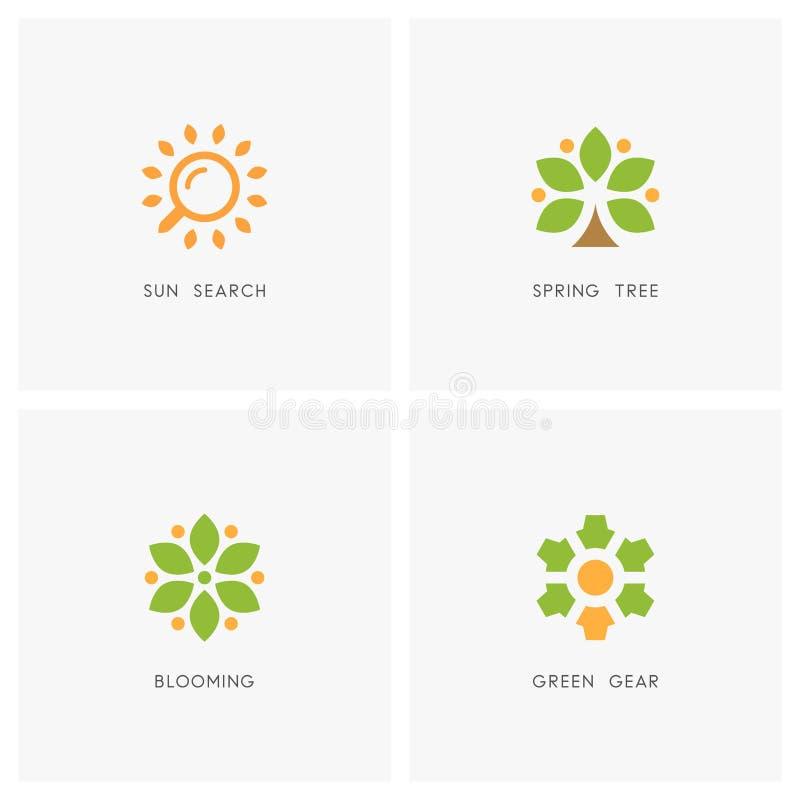 Naturaleza Logo Set stock de ilustración