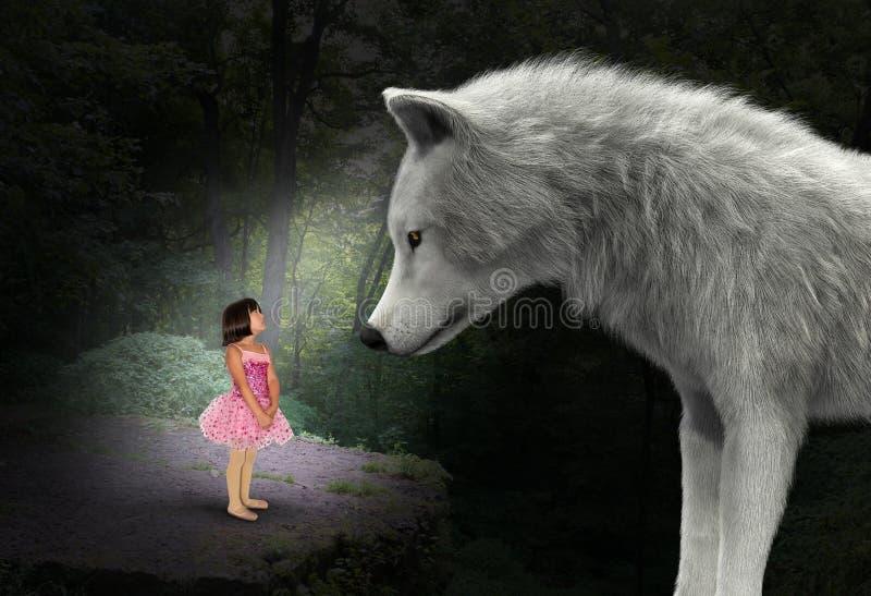 Naturaleza, muchacha, lobo, bosque, bosque, surrealista fotografía de archivo libre de regalías