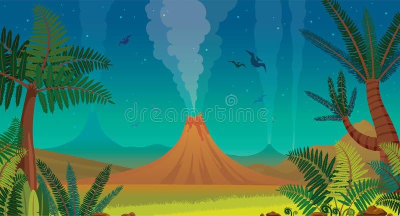 Naturaleza prehistórica - volcán, pterodáctilo, helecho y cielo nocturno stock de ilustración