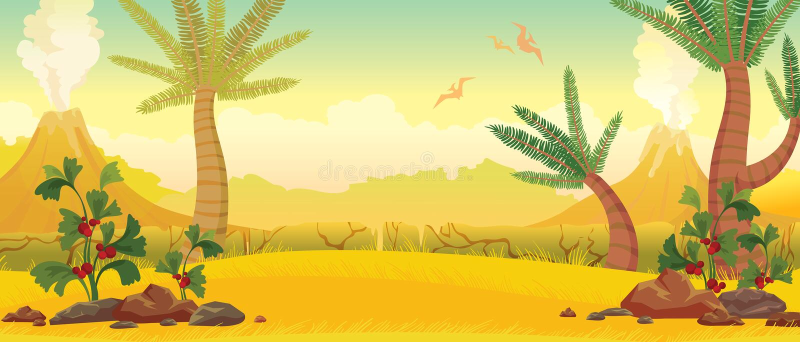Naturaleza prehistórica - volcanes, pterodacryls, plantas stock de ilustración