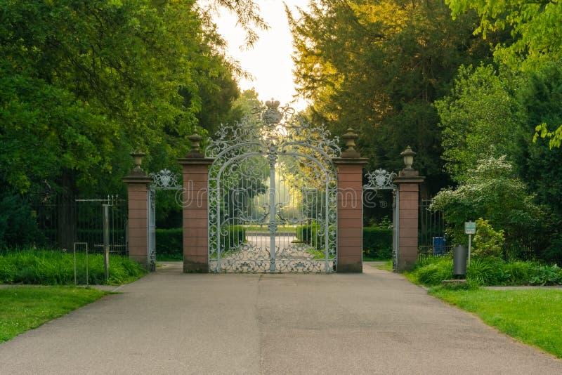 Naturaleza que camina de la ciudad urbana del parque del jardín botánico del palacio de Karlsruhe fotos de archivo libres de regalías