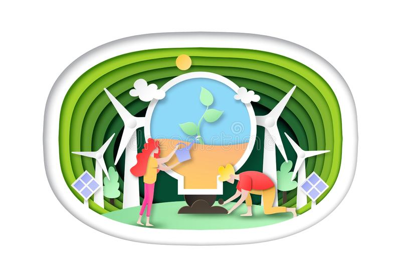 Naturaleza que planta en bombilla en estilo verde del arte del documento de información de la plantilla de la capa libre illustration
