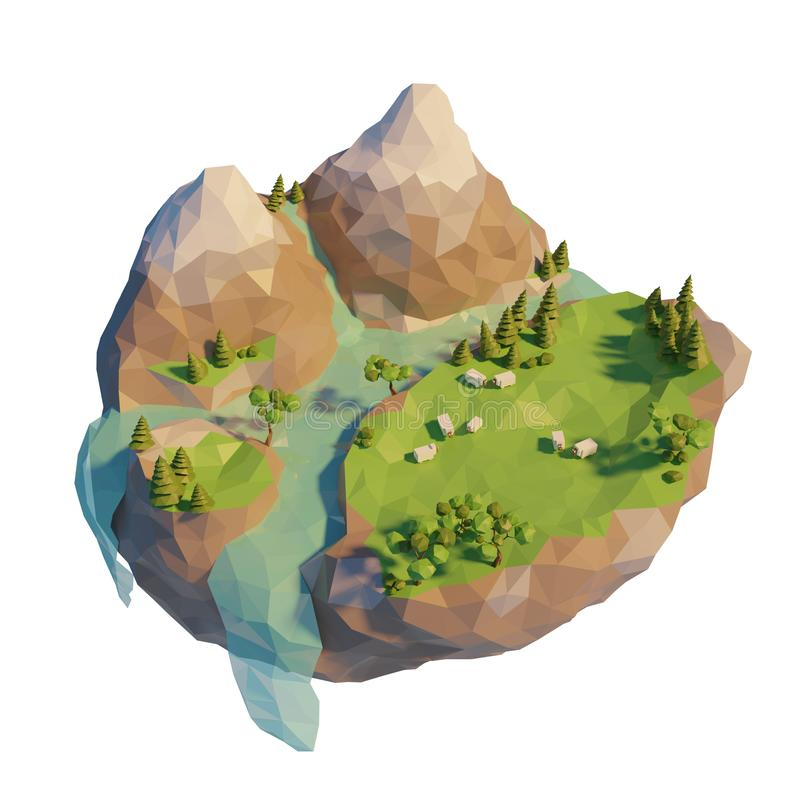 Naturaleza salvaje geométrica poligonal baja en montañas Ovejas en campo cerca del río en la isla 3d ejemplo abstracto, estilo po ilustración del vector