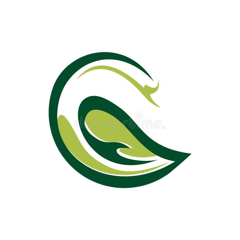 Naturaleza verde elegante Logo Symbol de la ecología del cisne stock de ilustración