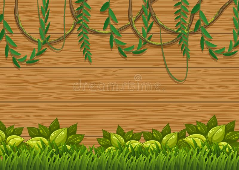 Naturaleza verde hermosa en el tablero de madera ilustración del vector