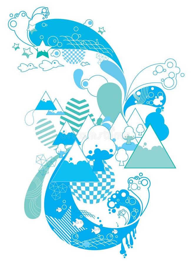 Naturaleza y montañas abstractas ilustración del vector