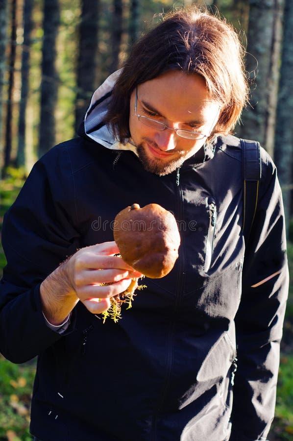 Naturalist som kontrollerar en champinjon royaltyfri foto