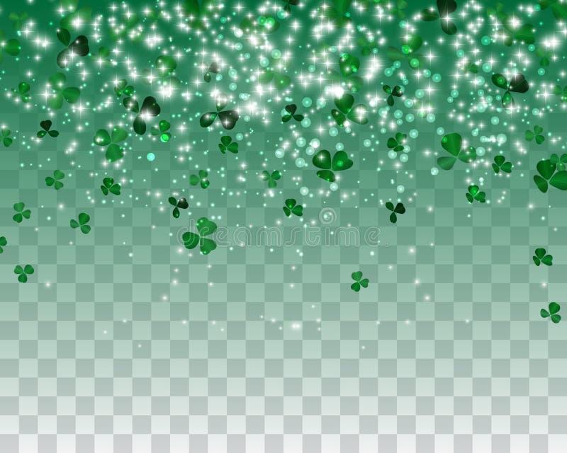Naturalistic красочный зеленый клевер на прозрачной предпосылке также вектор иллюстрации притяжки corel иллюстрация штока