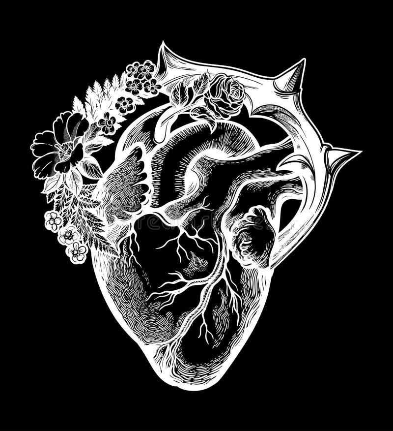 Naturalistisk hj?rta i en ram av blommor och taggar Konst f?r gotisk stil f?r tappning inspirerad Isolerad vektorillustration stock illustrationer