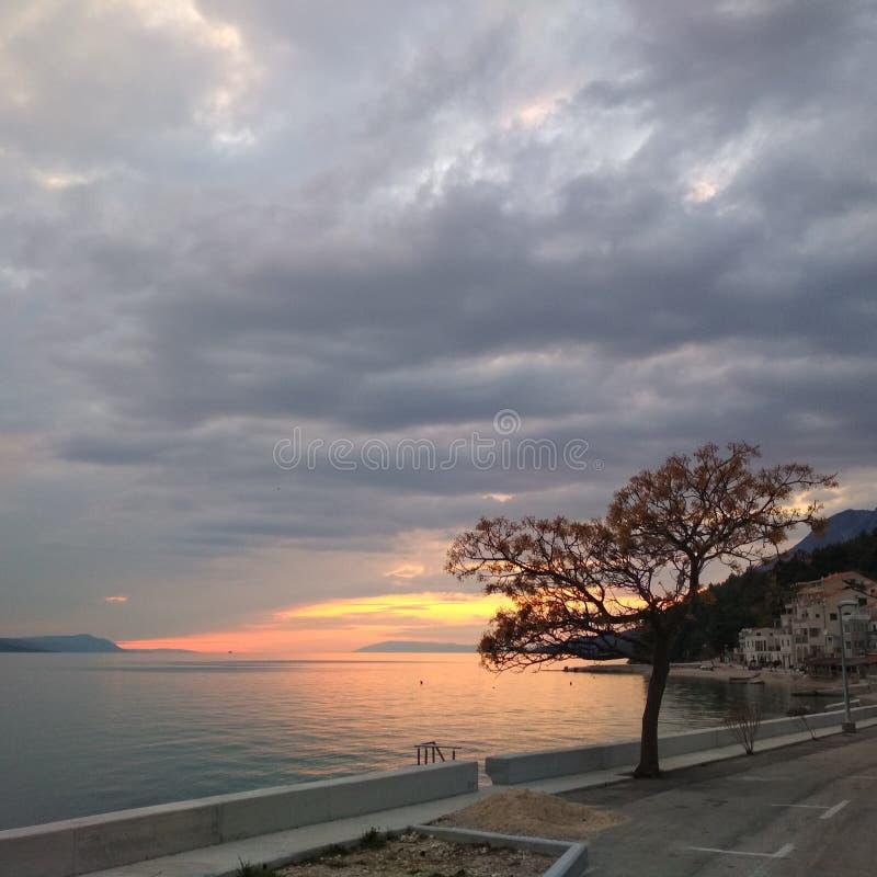 Naturally Coloured Sunset. Adriatic coast naturally coloured sunset stock images